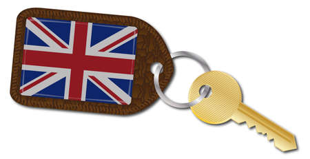 fob: A UK flag on a key fob with a gold key isolated on a white background