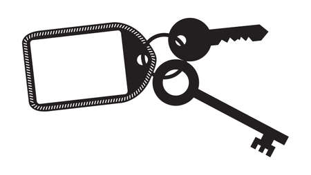 fob: A key and fob silhouette isolated on a white background Illustration