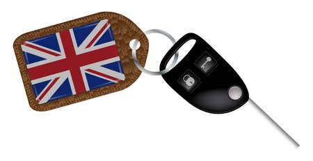 fob: A UK flag key fob with remote locking car key isolated on a white background Illustration