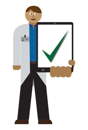 doctor tablet: A doctor with a tablet and chart isolated on a white background