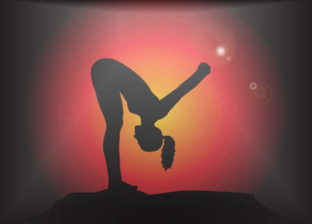 supple: A yoga woman silhouette performing forward fold with hands lock pose on a dark colourful background with a glare