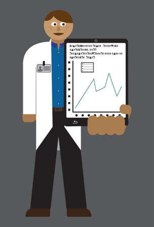 doctor tablet: A doctor with a tablet and chart isolated on a grey background