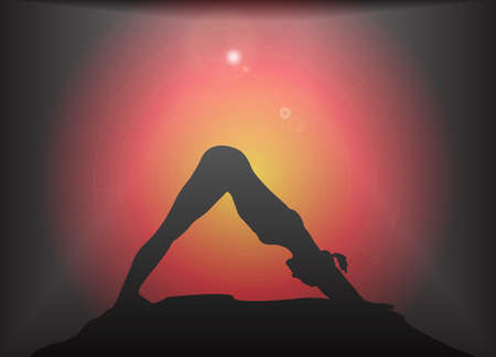 supple: A yoga woman silhouette performing downward dog pose on a dark colourful background with a glare