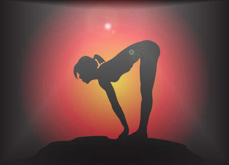 supple: A yoga woman silhouette performing forward fold with lift pose on a dark colourful background with a glare