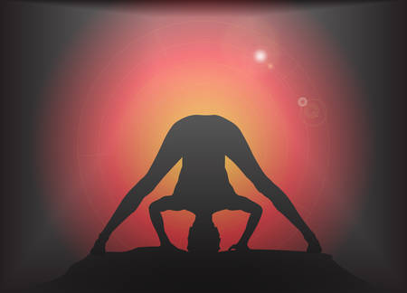 supple: A yoga woman silhouette performing wide legged forward fold pose on a dark colourful background with a glare Illustration