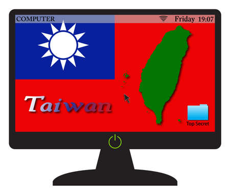 peoples republic of china: A Taiwan computer screen with an on button isolated on a white background Illustration