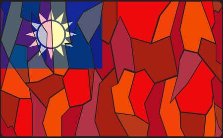 bandera panama: Una ventana de vidrio dise�o de la bandera de Taiw�n manchado Vectores