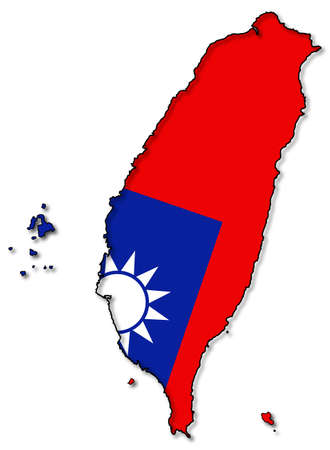 peoples republic of china: A Taiwan map with flag design isolated on a white background