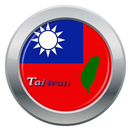 white flag: A Taiwan flag silver icon isolated on a white background