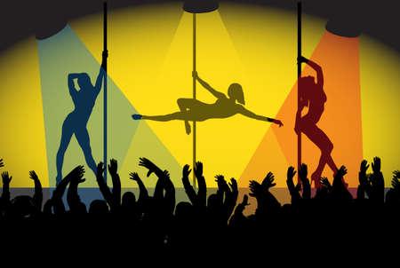 pole dancer: Pole dancers performing in spotlights for a crowd Illustration