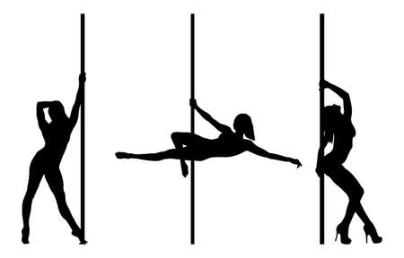 flexible woman: Pole dancer silhouettes isolated on a white background Illustration