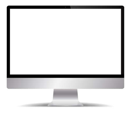 A realistic silver computer screen isolated on a white background Illustration