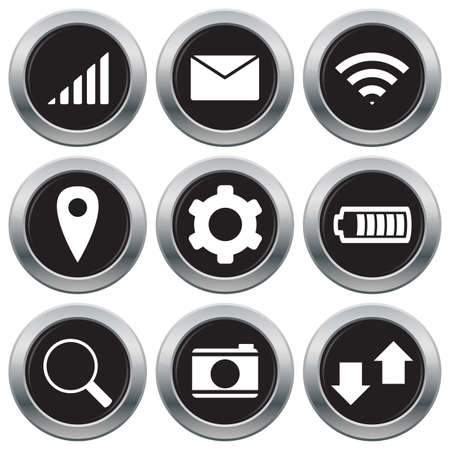 balck and white: A selection of phone related icons isolated on a white background