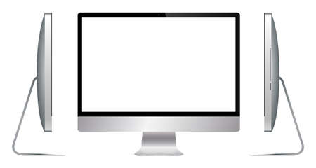 silver screen: A realistic silver computer screen from different angles isolated on a white background