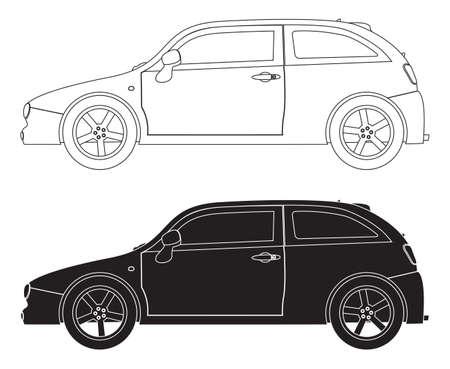 hatchback: Hatchback outlines isolated on a white background Illustration