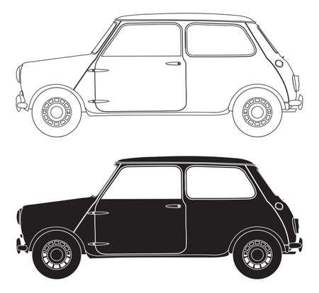 Pequeños contornos del coche aislado en un fondo blanco