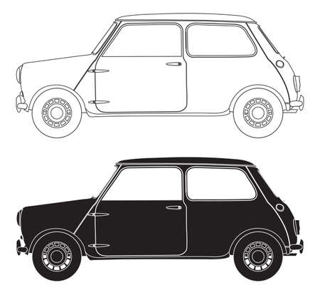 illsutration: Small Car Outlines isolated on a white background