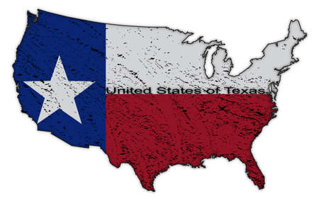 southern: A Texas flag in the US map grunged and isolated on a white background