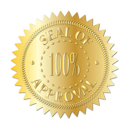 Un joint d'or de l'insigne d'approbation isolé sur un fond blanc