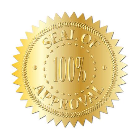 Un sigillo d'oro del distintivo approvazione isolato su uno sfondo bianco