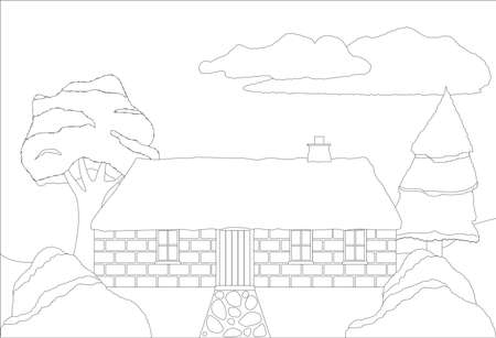 thatched: A cottage in the countryside colouring in page