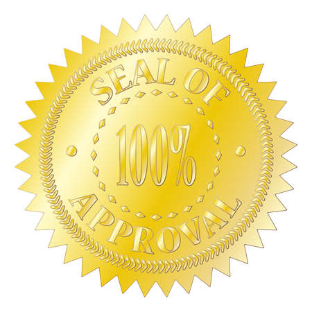 seal of approval: A gold seal of approval badge isolated on a white background