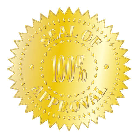 seal of approval: A textured gold seal of approval badge isolated on a white background Illustration