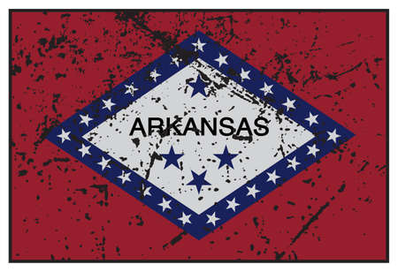 grunged: A grunged Arkansas state flag isolated on a white background