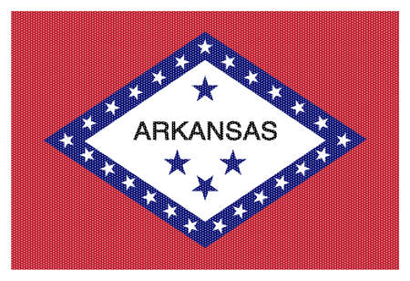 plough land: An Arkansas state flag with white dots isolated on a white background