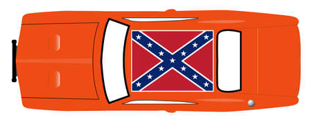 A Confederate flag on the roof of an orange car isolated on a white background