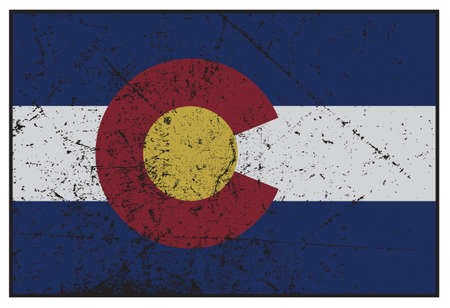 state of colorado: A grunged Colorado state flag isolated on a white background