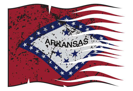 represent: A grunged and wavy Arkansas state flag isolated on a white background