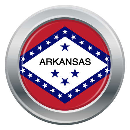 tungsten: An Arkansas state flag silver icon isolated on a white background