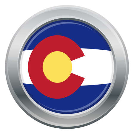 tungsten: A Colorado state flag silver icon isolated on a white background