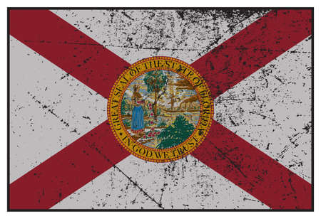 grunged: A grunged Florida state flag isolated on a white background