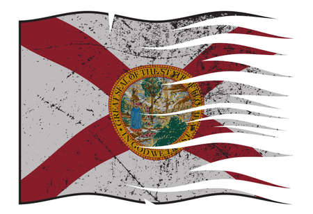 grunged: A wavy and grunged Florida state flag isolated on a white background Illustration