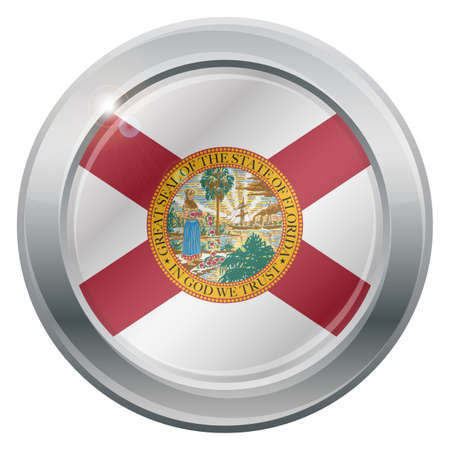 silver state: A Florida state flag silver icon isolated on a white background