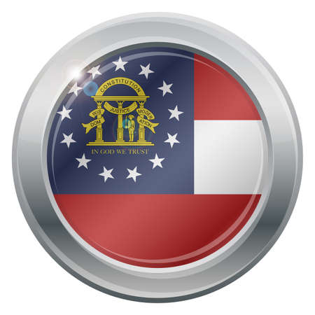 tungsten: A Georgia state flag silver icon isolated on a white background Illustration
