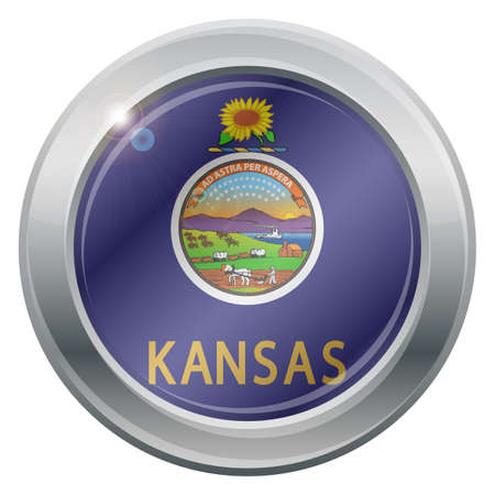 titanium: A Kansas state flag silver icon isolated on a white background Illustration