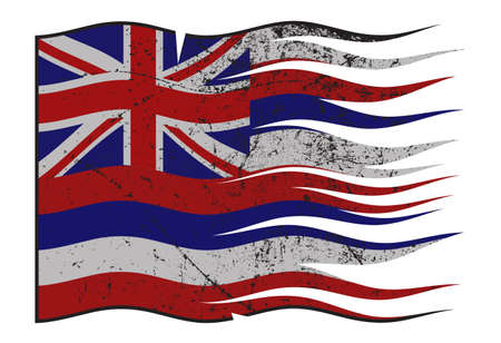 grunged: A wavy and grunged Hawaii state flag isolated on a white background Illustration
