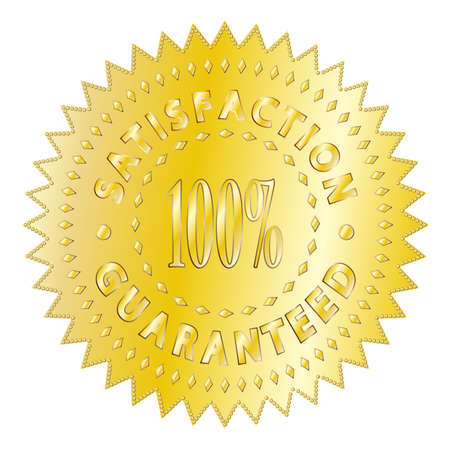 satisfaction guaranteed: A textured gold satisfaction guaranteed badge isolated on a white background