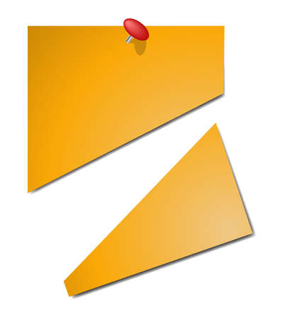 tacks: A sticky note cut in half with a pin in it isolated on a white background