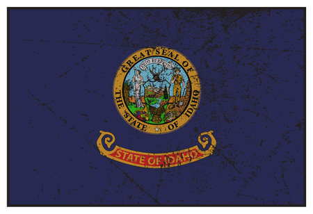 grunged: A grunged Idaho state flag isolated on a white background