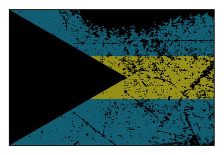 A grunged Bahamas flag isolated on a white background