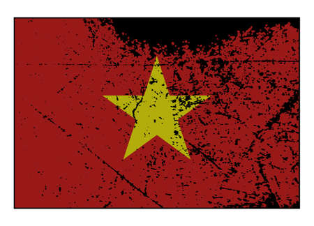 grunged: A grunged Vietnam flag isolated on a white background Illustration