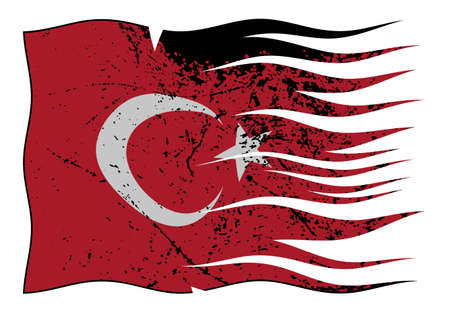 represent: A wavy and grunged Turkey flag isolated on a white background