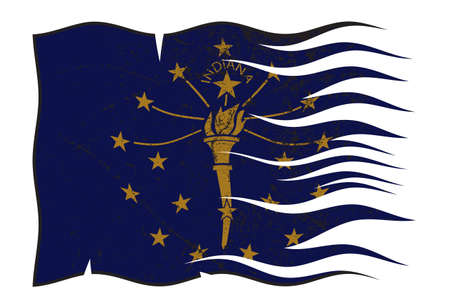 grunged: A wavy and grunged Indiana state flag isolated on a white background