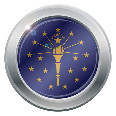 tungsten: An Indiana state flag silver icon isolated on a white background Illustration