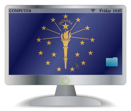 see the usa: An Indiana computer screen with an on button isolated on a white background