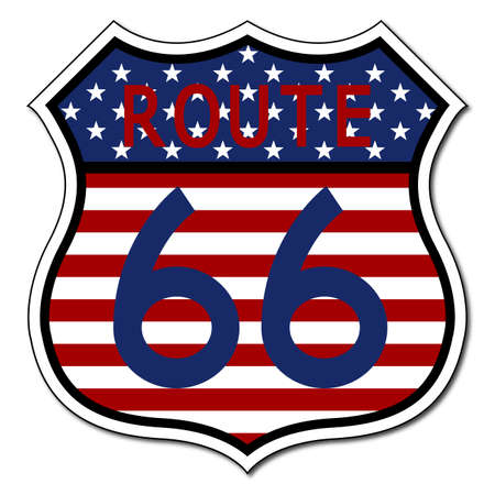 spangled: A US flag route 66 sign isolated on a white background Illustration